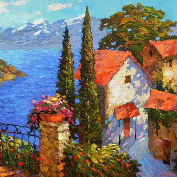 Sea views - OIL PALETTE KNIFE Painting on canvas by Dmitry Spiros. 32x32 in. (80 x 80 cm)