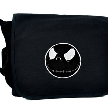 Negative Jack Skellington School Messenger Crossbody Bag Nightmare Before Christmas