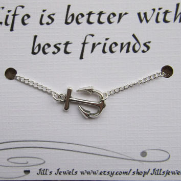 Anchor Charm Anklet and Quote Inspirational Card- Bridesmaids Gift - Friendship Anklet - Friends Forever - Quote Gift