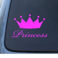 PRINCESS - Queen Crown Tiara - Car, Truck, Notebook, Vinyl Decal Sticker #1041 | Vinyl Color: Pink