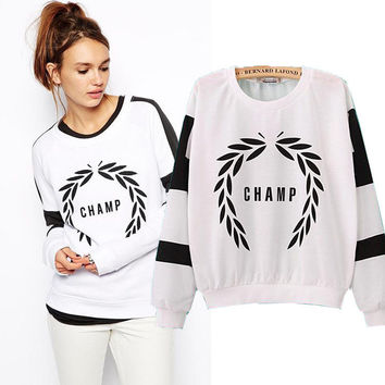 Printed Long Sleeve Pullover Sweater