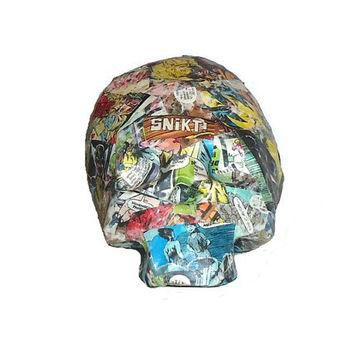 Paper Mache Skull Vintage Wolverine Marvel Comic Book Art Conversation Piece Home Deco