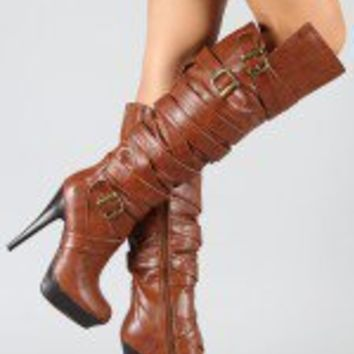Steven Buckle Strappy Thigh High Boot