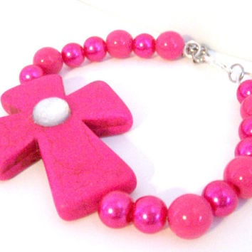 Christian Cross Bracelet, Sideways Cross Bracelet, Chunky Cross Bracelet, Colorful Howlite Bracelet, Pink Howlite Bracelet, Hot Pink Jewelry