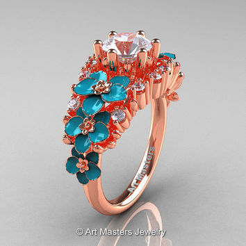 Nature Classic 18K Rose Gold 1.0 Ct White Sapphire Diamond Turquoise Orchid Engagement Ring R604-18KRGDTWS