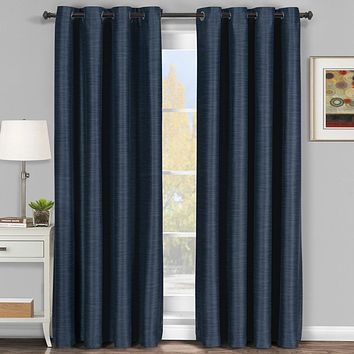 Navy 54x84 Galleria Blackout Thermal Coating Tonal Stripe Window Grommet Panel