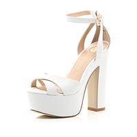 River Island Womens White leather chunky block platform heels