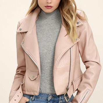Tough Girl Blush Pink Vegan Leather Moto Jacket