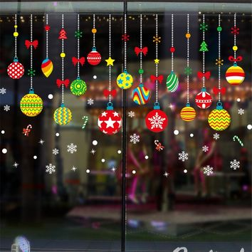 Christmas Wall Sticker Non-glue Static Merry Christmas Cute DIY Showcase Window Glass Background  New Year Home Wall Sticker L5