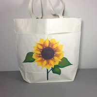 Canvas Tote with Hand Painted Sunflower