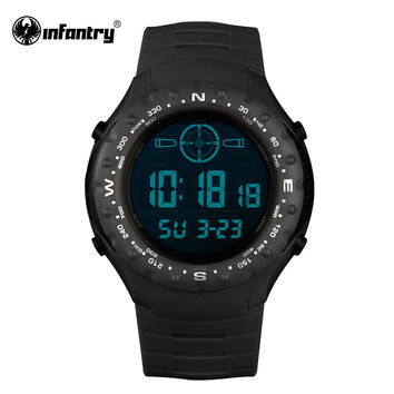 Mens Watches LED Digital Back Light Wrist Watches Black Rubber Sports Military Aviator Casual Watch