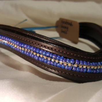 Bling English Curved Xtra Full Size Browband Periwinkle Blue Glass Beads with White Rhinestones