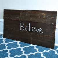 "Wood ""Believe"" Sign - Hanging Wall Art"