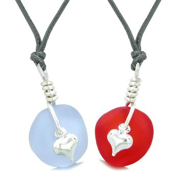 Twisted Twincies Heart Small Sea Glass Lucky Charm Love Couples BFF Set Royal Red Pastel Purple Necklaces