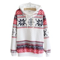 Women Christmas Snow Jumper Sweater Hooded Pullover Autumn winter 2017 warm knitting Pullovers