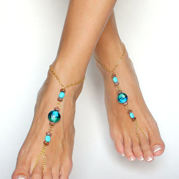Bohemian Barefoot Sandals in Golden Brown