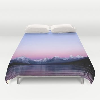pastel mountain lake sunset Duvet Cover by 2sweet4words Designs