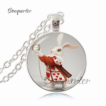Alice in wonderland necklace Peter rabbit pendant glass cartoon picture pendant Storybook Jewelry Potter neckless for women