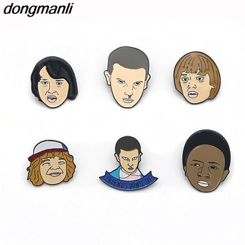P1678 Dongmanli Stranger Things Eleven Enamel Pin,Friends don't tell Lie Hand Stamped Letter Pins Brooch for Jeans/Backpack