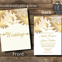 Gold Wedding Invitations, Gold Leaves Invitation,Fall Wedding invitation,Double sided invitation,Elegant Fall Invitation, Printable, Printed