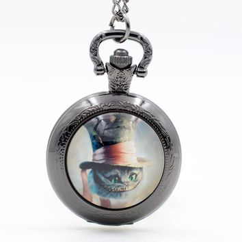 Alice in Wonderland Cheshire Cat with a Hat Quartz Pocket Watch Pendant Necklace Mens Watch Womens Watch Boys Girls Gift
