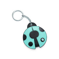 Tiffany & Co. - Ladybug key chain in Tiffany Blue® and onyx leather. More colors available.
