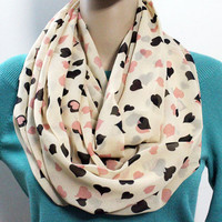 LOVE Heart Infinity Scarf Light and Silky Chiffon Scarf Pink and Black Hearts Print Circle Infinity Scarf