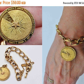 ON SALE Vintage Monet Zodiac Charm Bracelet, Spinning Zodiac, Pendant, Gold, Horoscope, 12 Zodiac Signs, Curb Chain, What's Your Sign? #b713