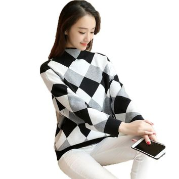 2017 Autumn Women's Sweaters and Pullovers Vintage Printed Long Sleeve Cashmere Knitted Sweater Warm Turtleneck Loose Pullover