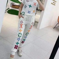 """""""LOUIS VUITTON"""" Woman's Leisure  Fashion Letter Printing Short Sleeve Trousers Two-Piece Set Casual Wear"""