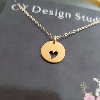 Heart Cut Out Charm 14k Gold Filled Necklace