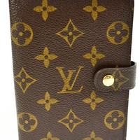 "Authentic LOUIS VUITTON : Brown ""LV"" Logo, Folding Wallet/Agenda (p)"