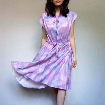 70s Sundress Summer Dress Accordion Pleat Tie Neck Simple Day Dress Pink Purple Blue - Large L