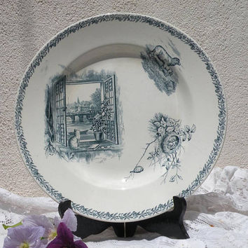 Antique French blue ironstone plate, animal transferware, vintage blue transferware, ironstone cat plate, french country, antique ironstone
