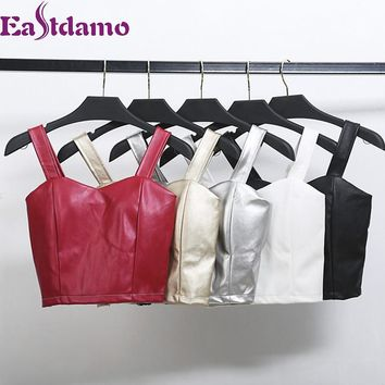Eastdamo Sexy Women's Crop Top PU Leather Bustier Tank Top Autumn Winter Slim Bodycon Short Bra Top Leather Corsets