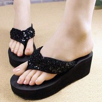 VSEN New slippers female beach sandals for women Rhinestone Crystal wedges platform elevator slip-resistant paillette 5 colors