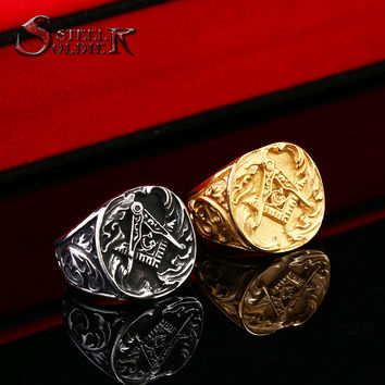 Steel soldier New Design Masonic Ring For Man Stainless Steel Master Masonic Signet Rings Free Shipping Gothic Vintage BR8-107