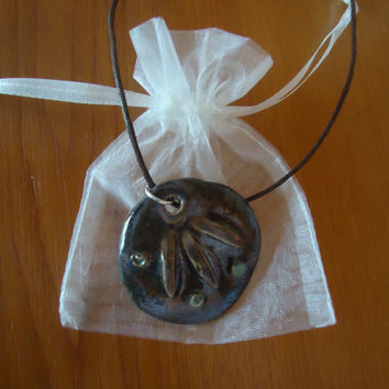 Unique handmade ceramic pendant - dark brown and glimmer green. Free shipping!