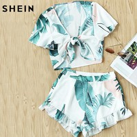 SHEIN Two Piece Set Summer Women Multicolor Tropical Print Knot Front V Neck Short Sleeve Crop Blouse and Shorts Set