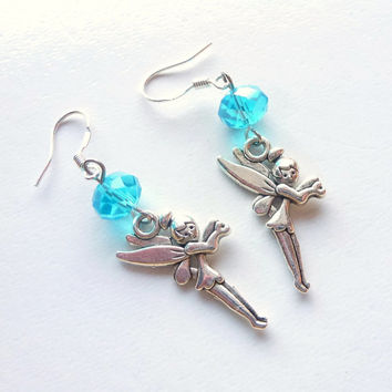 Tinkerbell Earrings, Assorted Colors, Beaded Jewelry, Pierced Ear Dangles, Antique Silver