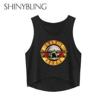 Gus n Roses 90s Irregular Womens Summer Tops 2017 Blusa Cropped Funny Tank Tops Black Printed Sexy Punk Tank Tops party Shirts