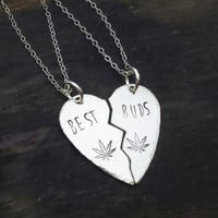 Sterling silver broken heart best buds hand stamped necklace set, pot leaf jewelry,  420 jewelry, bff handmade by the toke shop