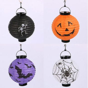 Halloween Decoration LED Paper Pumpkin Light Hanging Lantern Lamp Halloween Props Outdoor Party Supplies