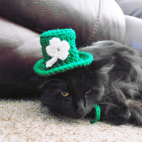 Knit Cat Hat - St. Patrick's Day Cat Hat - Gift for a Cat Lover - St. Patrick's Day Gift - Cat Costume - Kitten Costume - Cat Photo Shoot