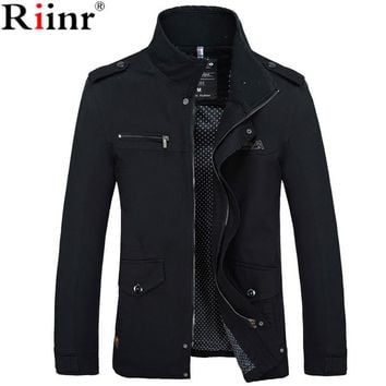 Riinr 2018 Brand New Arrival Male Jacket Slim Fit High Quality Mens Autumn  Clothing Man Jackets Zipper Warm Cotton-Padded