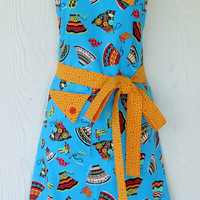 Skirts and Boots Apron, Cinco de Mayo, Colorful, Turquoise , Retro Style, Full Apron, KitschNStyle
