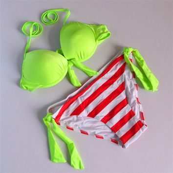 Hot Sale Summer Women Swimwear Brand Push Up Bra Bikini Green Neon Swimsuits Neon Color Bandage Bikini Set Large Size S M L