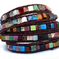 The Isis Leather wrap bracelet by Lobsterpirate on Etsy