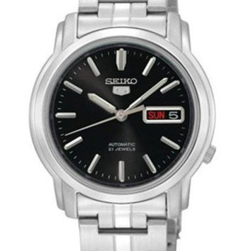 Seiko 5 Automatic Mens Watch - Black Dial - Steel Case & Bracelet - Day/Date