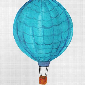 Contemporary Blue Hot Air Balloon Hand Embroidery Pattern